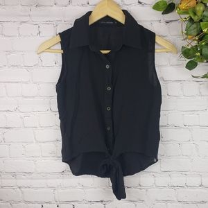 LOVE CULTURE Sleeveless Button Top with Tie Size S